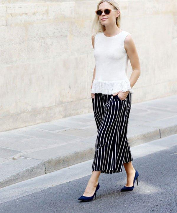 Street style look com culotte listrada.