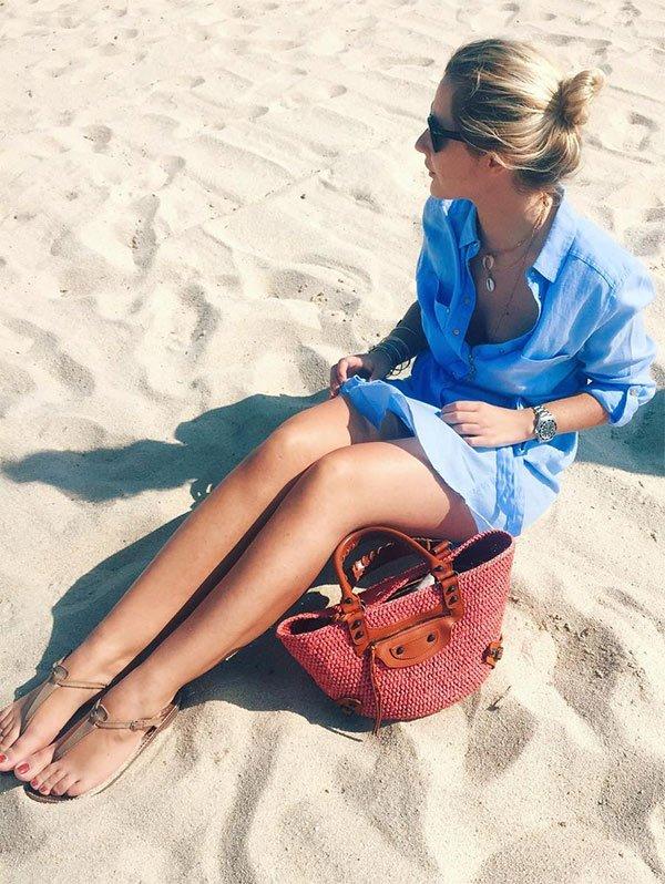 Look praia com chemise