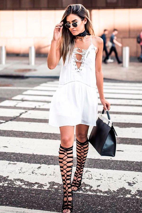 vestido branco gladiadora