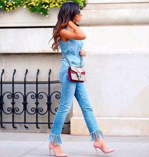 look calca jeans barra desfiada