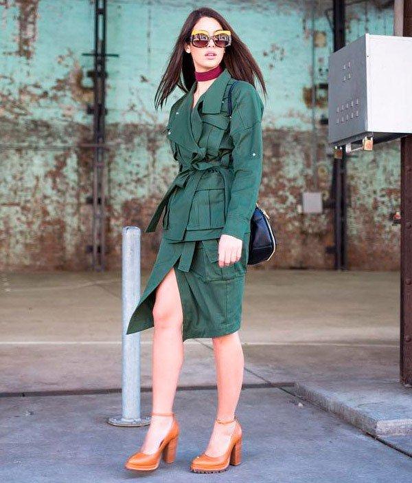 look casaco longo verde militar
