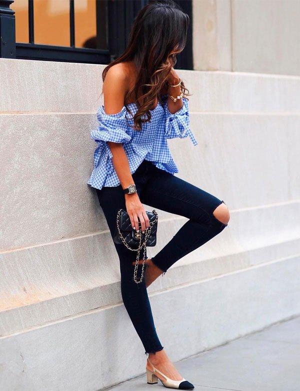 blusa ombro a ombro com calca jeans