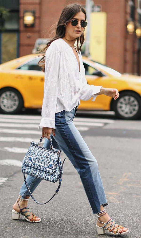 Street style look com jeans e branco.