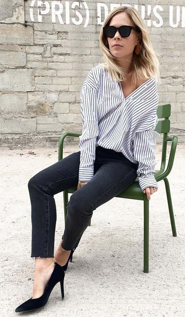 Street style look com camisa listrada.