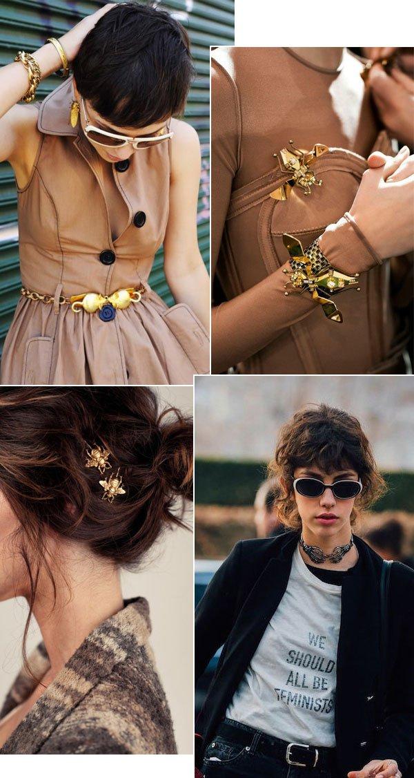 Street style looks com maxi bijoux.