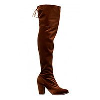Bota over the knee chocolate de veludo Taquilla