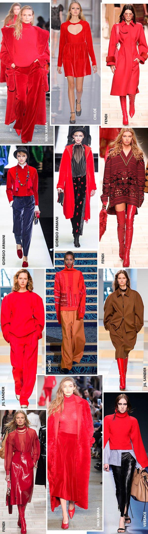 desfiles roupas vermelhaas