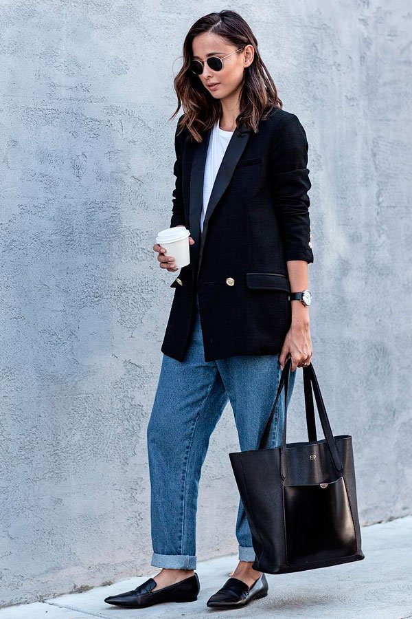 office look com blazer e jeans