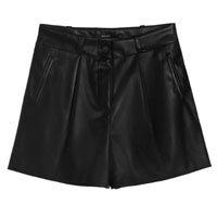 Shorts Leather Com Bolsos E Prega
