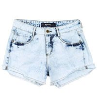 Shorts Feminino Hering Em Jeans Estonado Com Modelagem Comfort