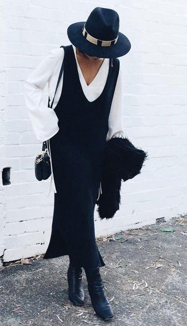 Street style look com chapéu.