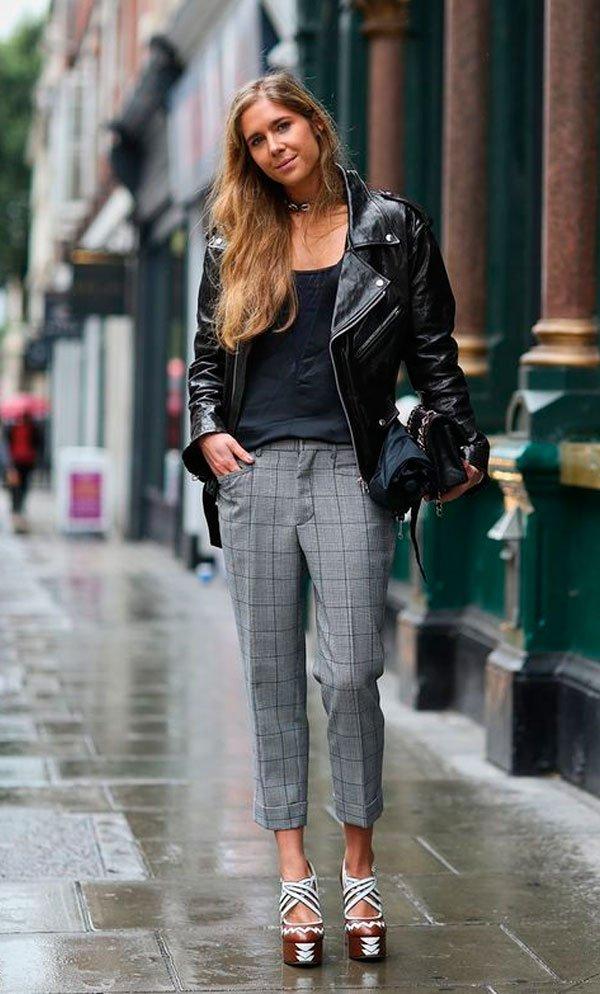 a7524282352 jaqueta couro. As calças de alfaiataria também funcionam super bem com essa  peça descolada - vale até tentar usar no office look. REGATA NATURAL  ESSENTIAL