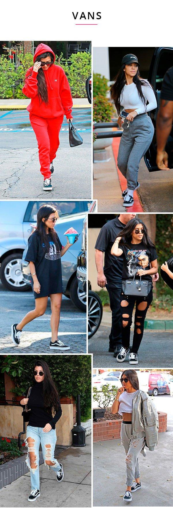 kourtney kardashian usando tenis vans