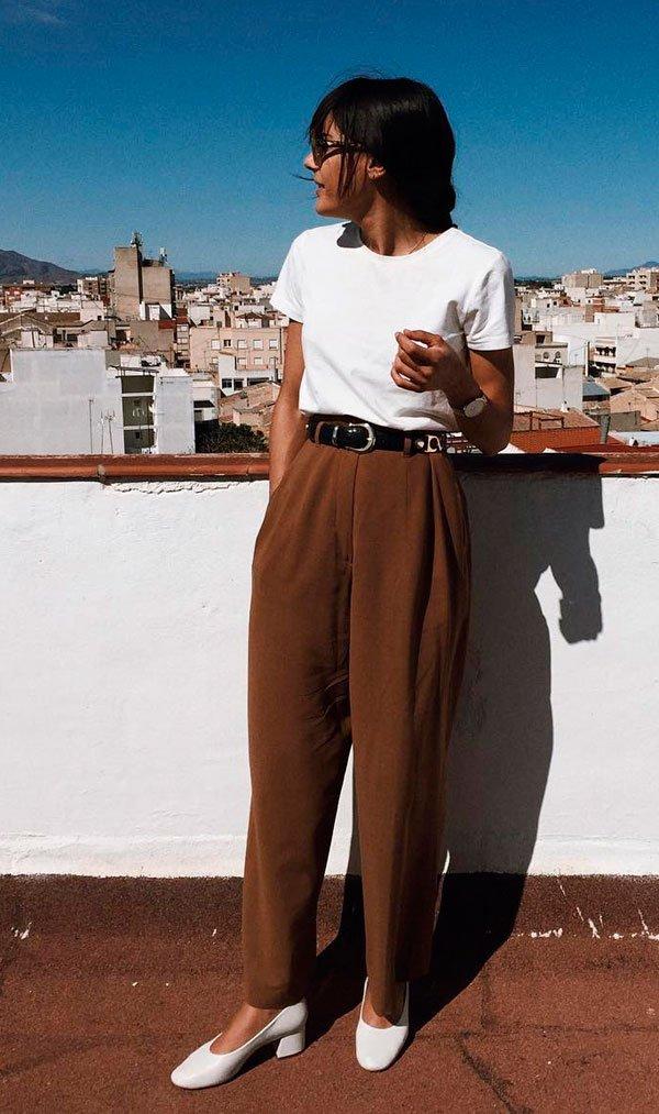 look calça marrom