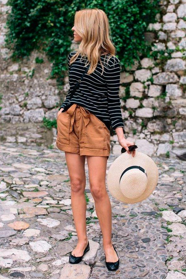 short e blusa listrada