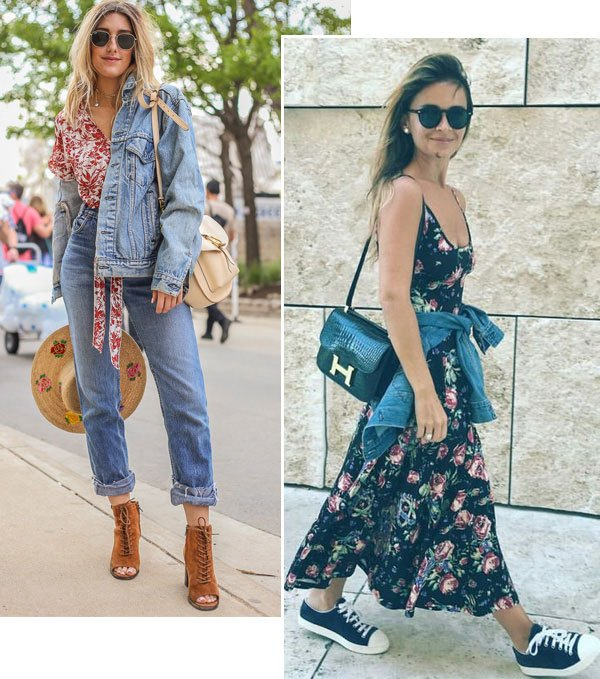 Street style look com floral.