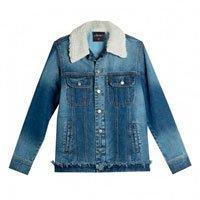 Jaqueta jeans com cola de pelo