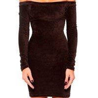 vestido veludo marrom