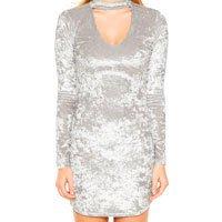 vestido veludo prata