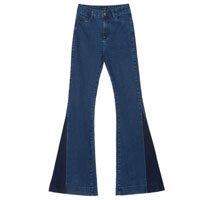 Calça Jeans Flare Patchwork