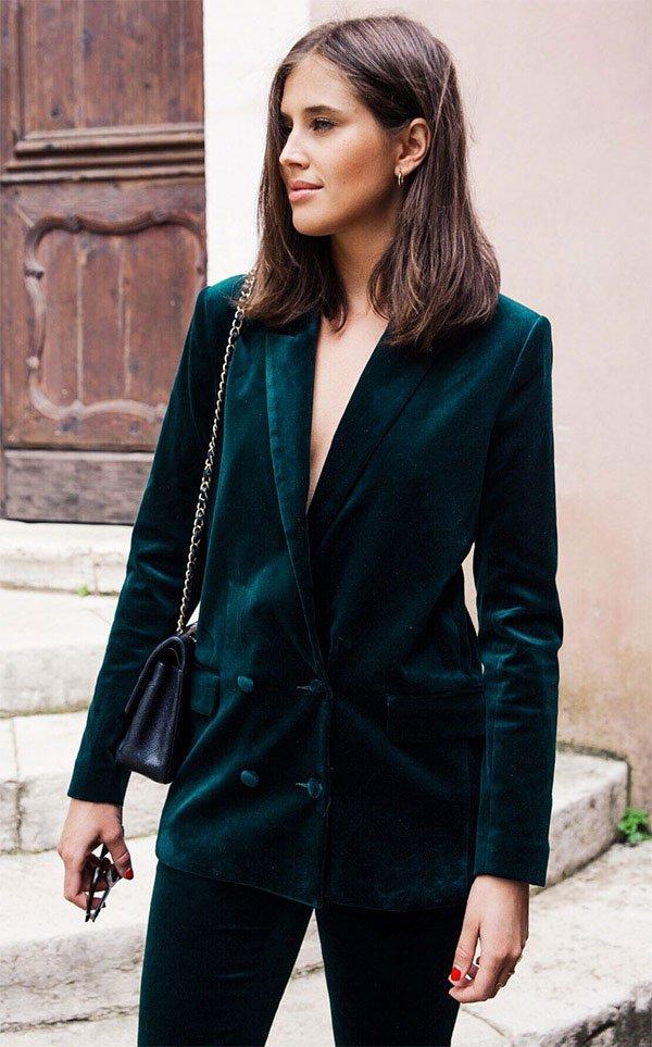 Street style look blazer veludo.