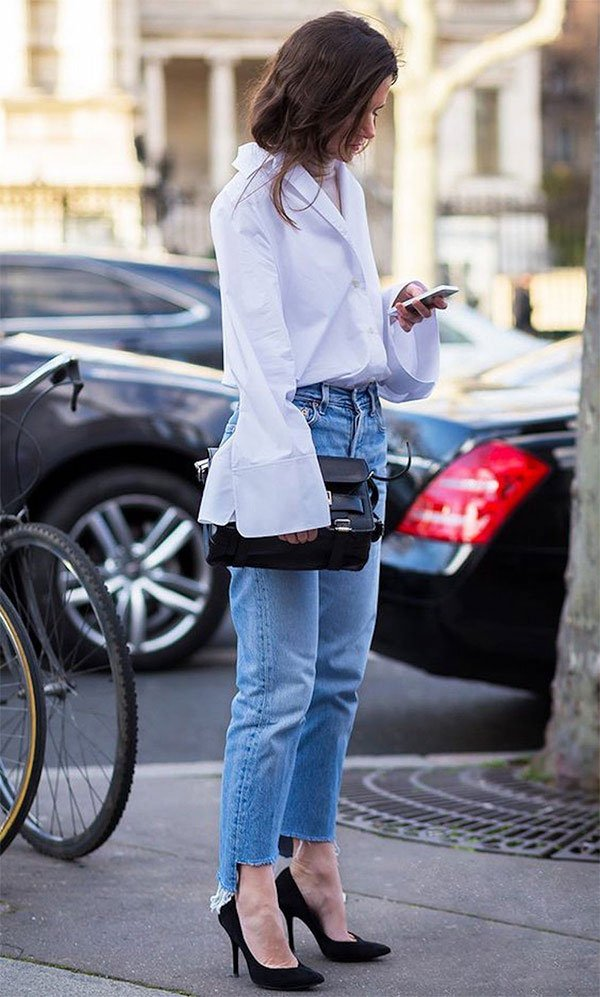 Street style look com camisa e jeans.