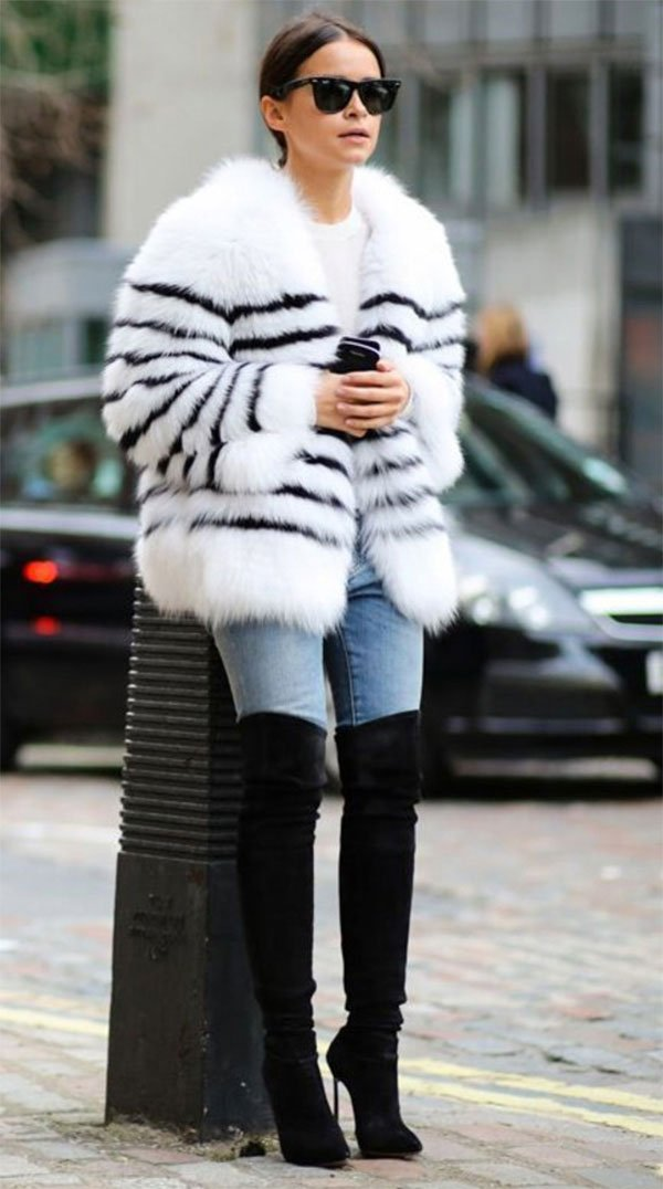 Street style look com over the knee.