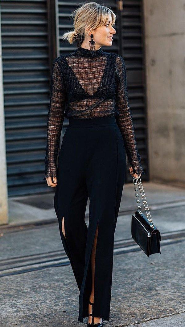 Street style look all black.