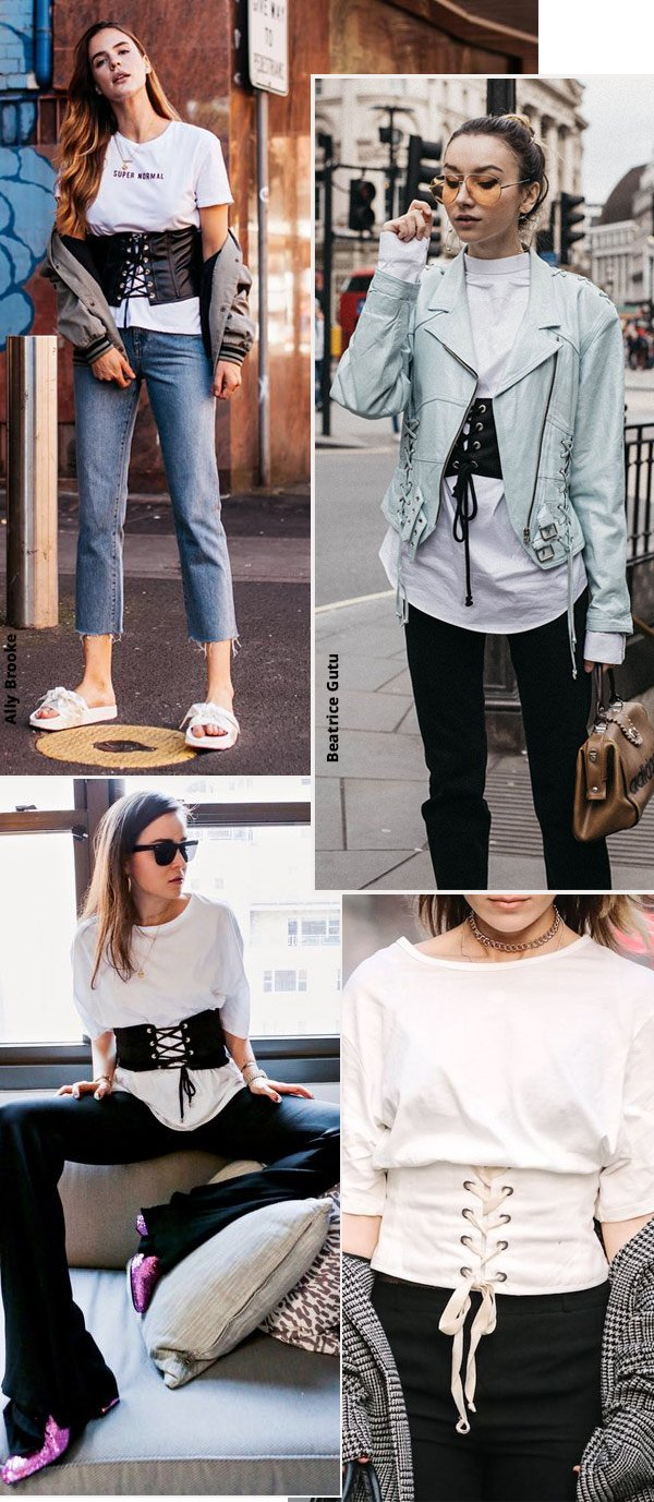 Street style look com cinto corpete.
