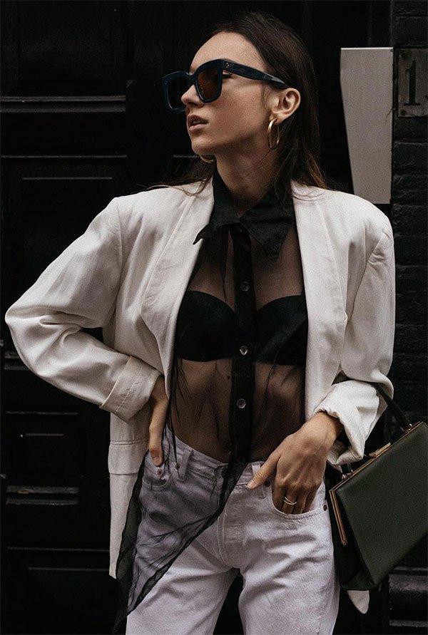 Street style look com blazer.