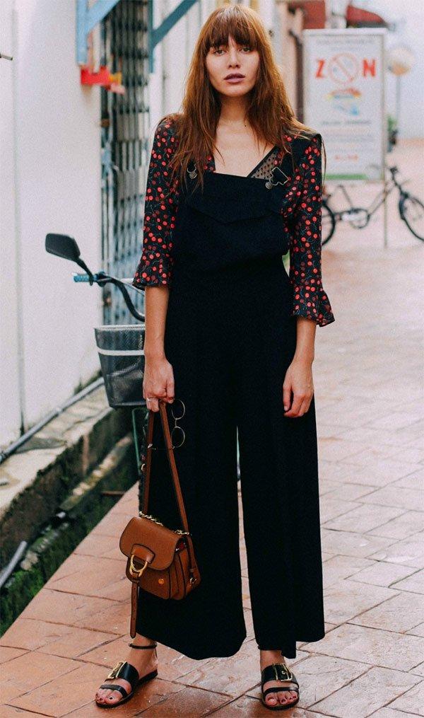 Street style look com macacão.