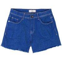 Shorts Jeans Com Barras Desfiadas Na Lavação Cobalto