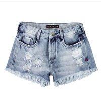 Shorts Destroyed Com Barra Desfiada Em Jeans Dzarm
