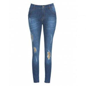 Calça Jeans Feminina Skinny Paetê