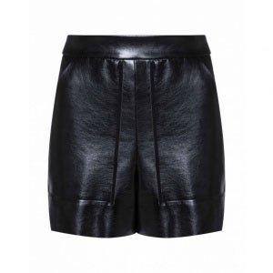 Shorts Leather Cintura Alta Bolsos