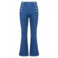 Calça Jeans Cropped Flare Botões