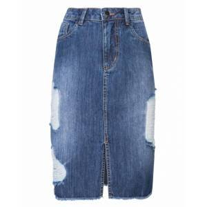 Saia Jeans Midi Destroyed