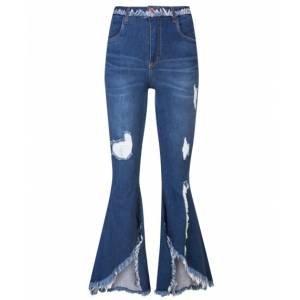 Calça Jeans Flare Assimétrica