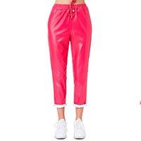 Calça Jogger De Couro Sintético Pink