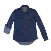 Camisa Jeans Feminina Em Tecido De Algodão Estampado
