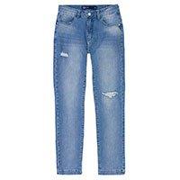 Calça Jeans Feminina Skinny Cintura Alta Com Puídos