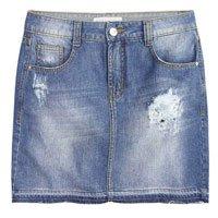 Saia Jeans Destroyed Com Lavação