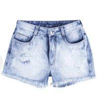 Shorts Jeans Feminino Com Detalhe Destroyed E Efeito Estonado