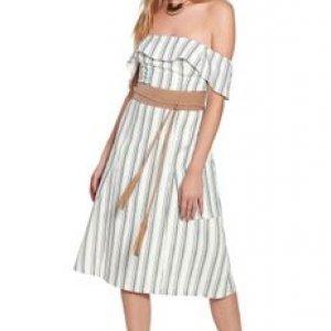 Vestido Ombro Linen Caribe Stripe - 36
