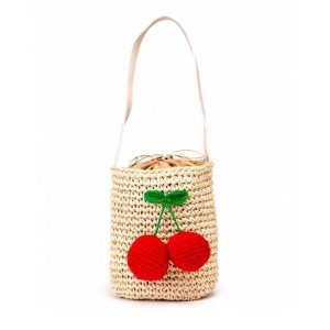 Bolsa De Palha Cherry Beige