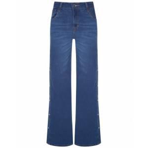 Calça Jeans Wide Leg Botões