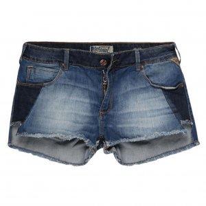 Shorts Jeans Feminino Assimétrico Patchwork