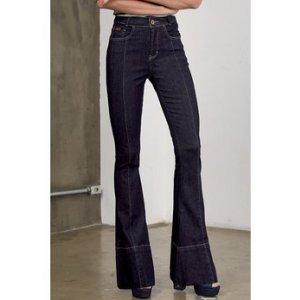 Calça Jeans Flare Com Costuras Frontais Dzarm