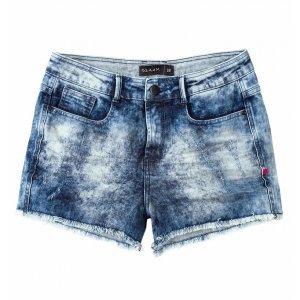 Shorts Com Barra Desfiada Base Pin Up Loose Em Jeans Dzarm