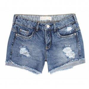 Shorts Jeans Com Barra Desfiada Dobrada